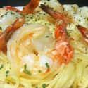 Shrimp Scampi served over Pasta